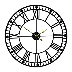 YIDIE 24 inch Pure Metal Large Wall Clock Decorative Display Non-Ticking Battery Operated Decor Clocks,Black