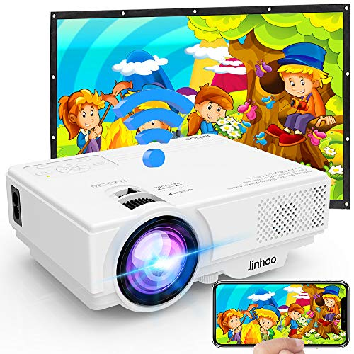 [WiFi Beamer] Jinhoo 4500 Lumens Wireless Beamer Unterstützt 1080P Full HD, Native 720P HD Mini WiFi Projektor Beamer Kompatibel mit Smartphone Tablet TV Stick Spielekonsole HDMI VGA USB TF, Weiß.