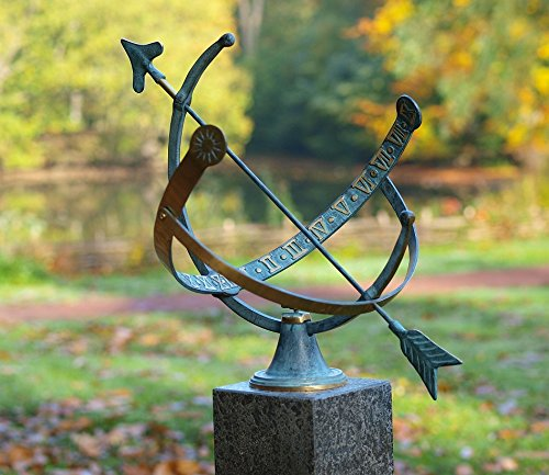 pompidu-living Sonnenuhr, hochwertiger Outdoor-Zeitmesser für den Garten, wetterfeste Bronze-Uhr, 35x45x30cm