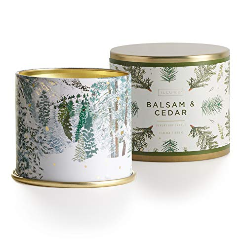 Illume 45250072000 Noble Holiday Collection Balsam & Cedar Vanity Tin, 11.8 oz Candle, Green