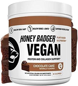 Honey Badger Natural Vegan Keto Collagen Pea Protein + Vitamin C