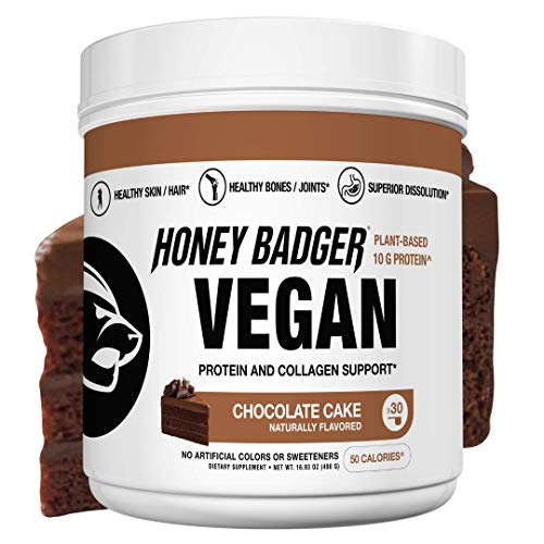 Honey Badger Natural Vegan Keto Collagen Pea Protein Powder | Chocolate Cake | Gluten Free Paleo + Amino Acids BCAA Digestive Enzymes | Hydrolyzed 10g Pea Protein Non GMO Supplement | 30 Servings