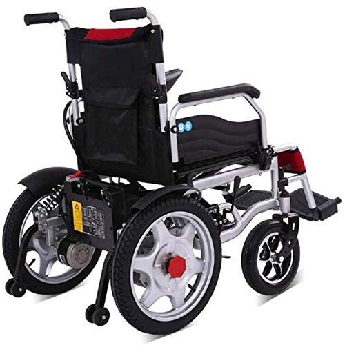 Check Out This GJNWRQCY Seniors Intelligent Folding Large Widened Electric Wheelchair,Four-Wheel Saf...