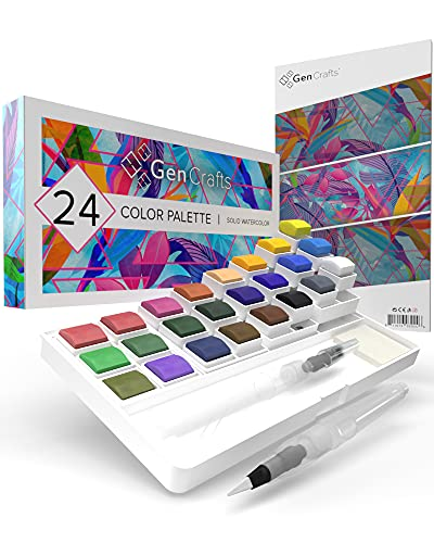 Watercolor Palette with Bonus Paper pad by GenCrafts - Includes 24 Premium Colors - 2 Refilable Water Brush Pens - No Mess Storage Case - 15 Sheets of Water Color Paper - Portable Painting