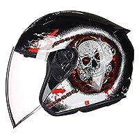 モーターサイクルコンバーチブルヘルメット衝突防止ヘルメットモップ付きアダルトジェットスクーターヘルメットDOTECE認定ユニセックス B,XL=61~62cm