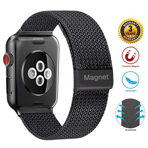 Wristbands for Watch Band 44mm 42mm,Stainless Steel Mesh Metal Wristband Loop with Adjustable Magnetic Closure Replacement Band Compatible with 1watch Series 4 3 2 1 (42mm/44mm Black)