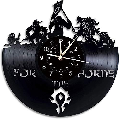 Vinyl Record Wanduhr, große Uhr mit World of Warcraft Thema Wanddekoration, Hauptdekoration Geschenk von Retro-Dämon Illidan Figur. (Color : A)