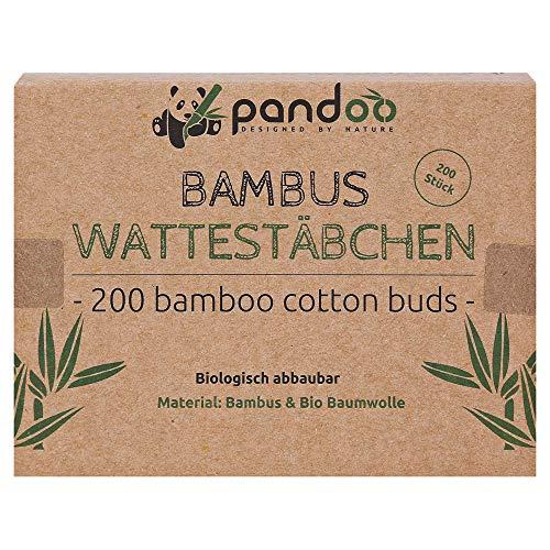 pandoo Cotons-tiges Biodégradables en Bambou de Culture Biologique   Écologique et Polyvalent   Bâtonnets en Coton Durables et Compostables   Bonne Résistance à l'Eau   4 Boîtes de 200 (800) - 7.5 cm