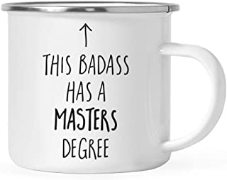 Andaz Press 11oz. Graduation Stainless Steel Campfire Coffee Mug Gift, This Badass Has a Masters Degree, Arrow Graphic, 1-Pack, Includes Gift Box