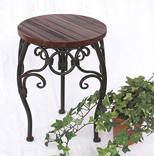 DanDiBo bloemenkruk metaal bruin rond bloemenstandaard 12592 bijzettafel plantenstandaard klein houten plantenrek