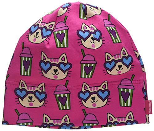 maximo Mädchen Beanie, aus Jersey, GOTS Mütze, Mehrfarbig (Sun Pink-Katzen 44), 53