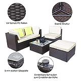 Polyratten Lounge 5 Teilig Sitzgruppe Gartenmöbel Garnitur für 3-4 Personen - 5