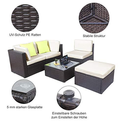 GOJOOASIS Polyratten Lounge, 5 Teilig Sitzgruppe, 200cm Gartenmöbel Garnitur für 3-4 Personen, Couch-Set in Braun-schwarz mit beigen Bezügen&grünen Kopfkissen, für Garten, Terrasse&Balkon(2 Pakete) - 5