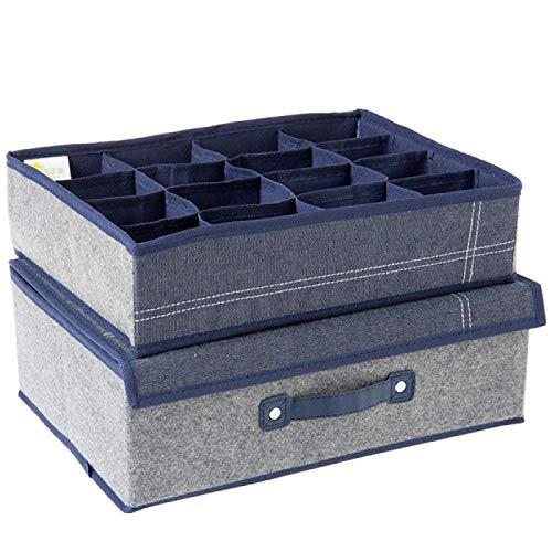 Caja de almacenamiento de fieltro de mezclilla de gran capacidad caja de almacenamiento de cajones de armario ropa de hogar con tapa caja de almacenamiento a prueba de polvo caja de almacenamiento