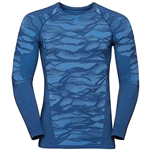 Odlo Top Crew Neck Blackcomb T-shirt à manches longues pour homme Bleu clair L bleu