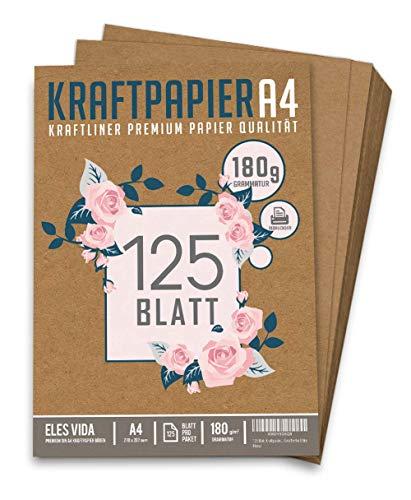 125 Blatt Kraftpapier A4 Set - 180 g - 21 x 29,7 cm - DIN Format - Bastelpapier & Naturkarton Pappe Blätter aus Kraftkarton zum Drucken, Kartonpapier Basteln für Vintage Hochzeit Geschenke Etiketten