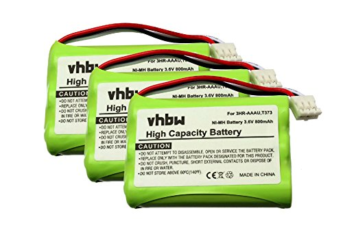 vhbw Set de 3X Baterías Ni-MH de 800mAh (3.6V) para teléfono inalámbrico Bang & Olufsen BeoCom 6000 y 3HR-AAAU, T373.