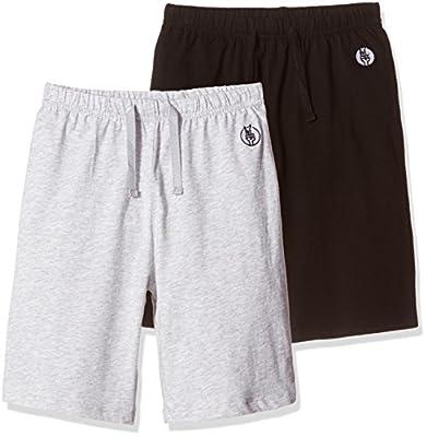 Kid Nation Kids' 2 Packs 100% Cotton Jersey Elastic Gym Short for Boys or Girls