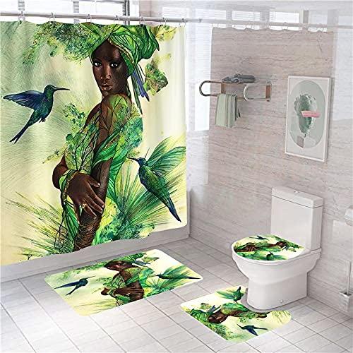 3D Gedruckter Duschvorhang 180x200 cm Gelbgrünes Eisvogel-Baummädchen Wasserdicht Antibakterielles Duschvorhang gesetzt Polyester rutschfest Badematte Waschmaschinenfest