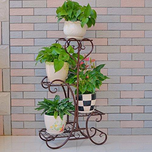 CJH Étagère multi de balcon d'étage d'art de fer de support de fleur européenne, type de plancher de salon vert.