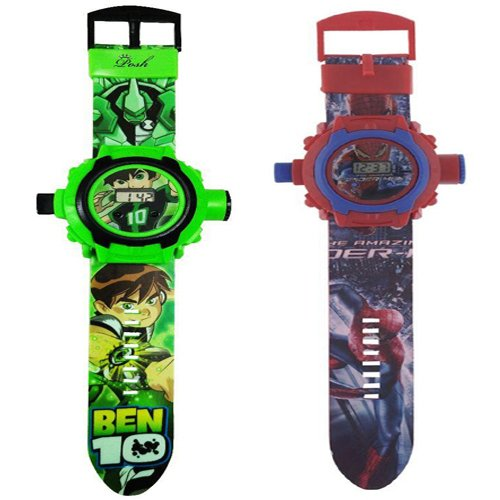 Combo Ben 10 and Spider Man Projector Watch for Kids (24 Images) Pack of 2