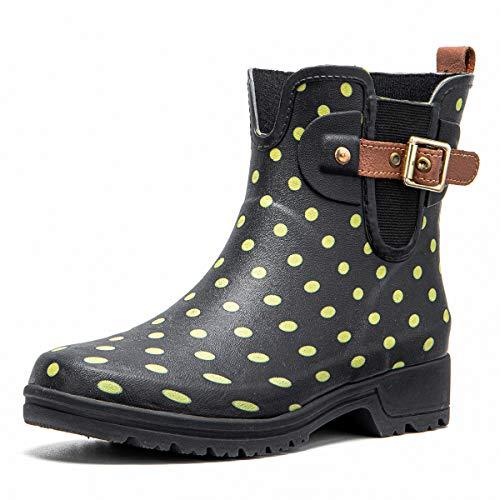 gracosy Botas de Agua para Mujer Zapatos de Lluvia Impermeable Chelsea Botas Otoño Invierno Goma Wellington Botas Antideslizante Corto Botas Negro