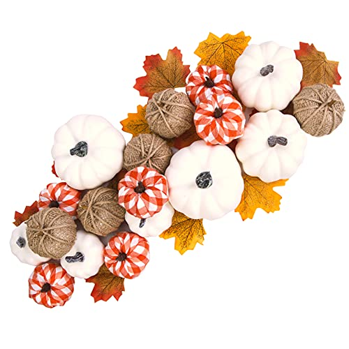 Artificial Pumpkin Fall Decor, 18Pcs Assorted Harvest Burlap Bufflo Plaid White Pumpkins with 30Pcs Fake Maple Leaves for Wedding Thanksgiving Halloween Holiday Farmhouse Fall Decorations