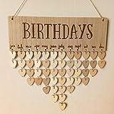 AceAcr Birthday Calendar Wood Wall Hanging Board Plaque Birthday Reminder Calendar DIY Birthday Anniversary...