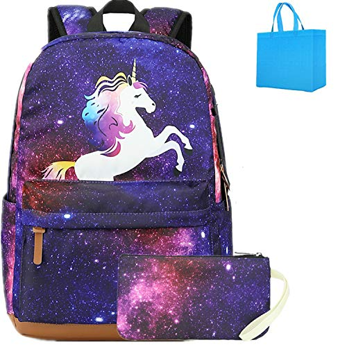 Einhorn Schulrucksack Mädchen Galaxy Schultasche Schulranzen Rucksack Mäppchen Set für Schule Reisen mit USB-Ladeanschluss Lila (Lila)