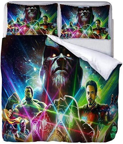 QWAS Ropa de cama de Los Vengadores, la funda nórdica cambiante de Iron Man es suave y adecuada para niños y jóvenes (V01,135 x 200 cm + 50 x 75 cm x2).