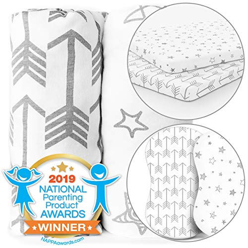 Bassinet & Pack n Play Playard Sheets Bundle - Stretchy, Fitted Jersey Cotton - Will Fit Any Playard Size - Arrow Stars