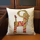 DKISEE Funda de almohada Yule de cabra, cuadrada, de algodón, lino, para sofá, silla, decoración del hogar, 50,8 x 50,8 cm
