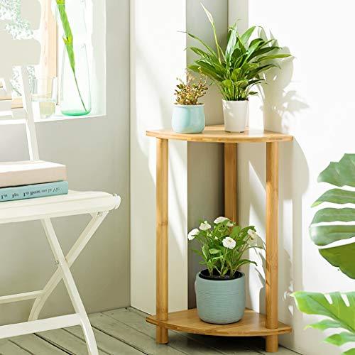 corner shelf unit for flowers Flower Stands for Living Room Corner, Assembly Flower Shelf(Round or Fan) Bamboo Flower Stands Plant Display Stand, Flower Pot Holder Plant Stand (Color : Beige, Size : 30cm × 60cm)