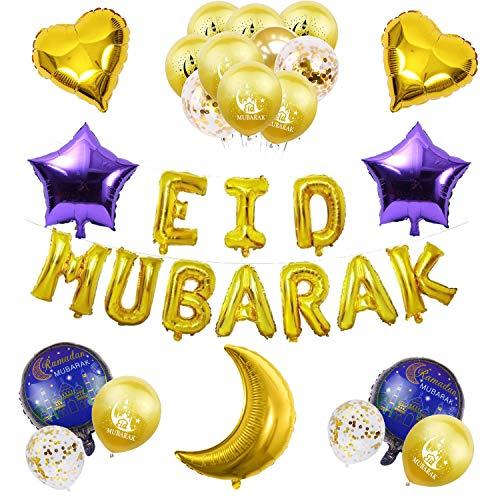 Eid Mubarak Deko 2021 Ramadan Deko - Globos de papel de aluminio, guirnalda y estrellas, color dorado y lila