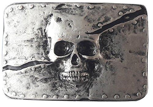 BBM-STYLE Gürtelschließe Gürtelschnalle - Skull - Totenkopf - massiv gearbeitet - für 3,8 bis 4 cm breite Bänder