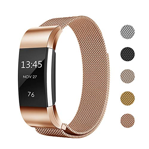 Keasy Replacement Bands Compatible with Fitbit Charge 2, Stainless Steel Metal Lock Replacement Wristband for Women Men (Small, Rose Gold)
