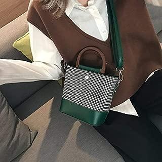 WTYD Single Shoulder Bag Casual Wool Shoulder Bag Ladies Handbag Messenger Bag (Black) (Color : Green)