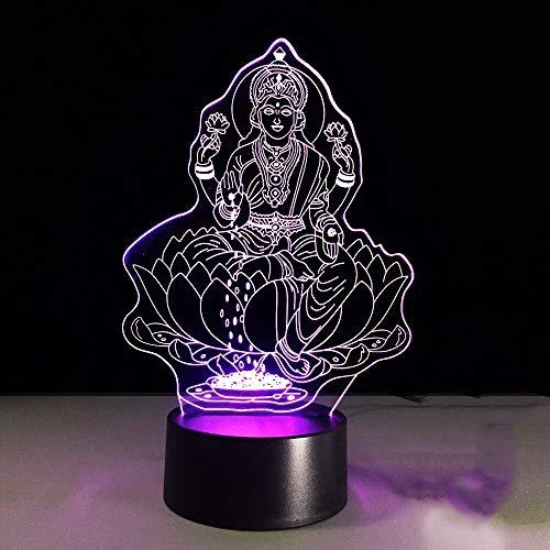 Lámpara de mesa 3D, luz de noche LED multicolor, USB visual, diosa india de la riqueza, decoración de dormitorio, iluminación, regalo