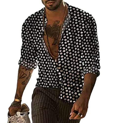 Camisa de Manga Larga con Estampado de Lunares para Hombre XL