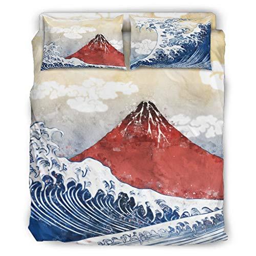 DOGCATPIG All Season Bedding - Juego de ropa de cama japonesa de Ukiyoe Mount Fuji Big Wave para parejas, 4 piezas, 203 x 230 cm, color blanco