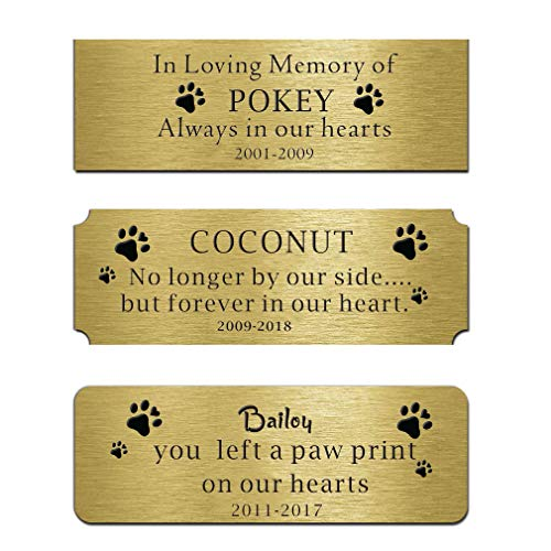 Customizable Plaque Nameplate Brass Plates Personalized Label Engraved Memorial Name Tag Flag Case Shadow Boxes Pets Name 3'W x 1'H (Forever in Our Heart)