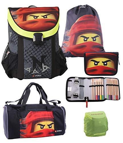 Familando Lego Schulranzen-Set 5tlg. Easy mit Lego Ninjago Motiv roter Ninja Kai mit Federmappe gefüllt, Turnbeutel, Regenschutz und großer Sporttasche Spinjitzu