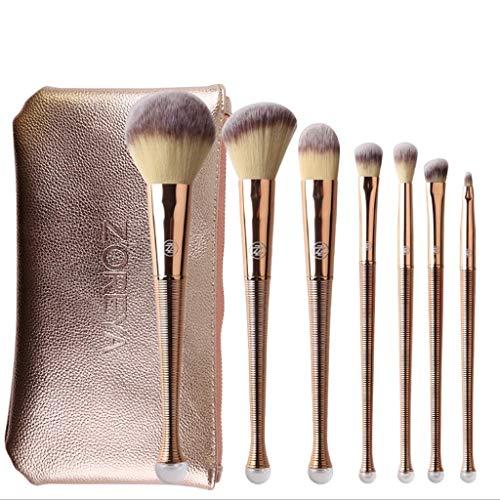 JFFFFWI Pinceaux à paupières Maquillage Set Brush Set of 8 Nylon Makeup Tools Mermaid Professional Makeup Brush Portable Makeup Bag Universal Beginner Rose Gold
