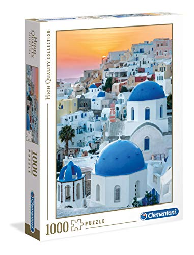 Clementoni Collection Puzzle-Santorini-1000 Pezzi, Multicolore, 39480