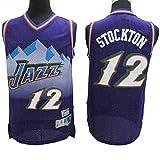 HUANGB Fans Jersey Baloncesto NBA Jazz Snow-Mountain Edition 12 Camisetas Clásicas De John Stockton Cómodas Camisetas Deportivas De Malla Transpirable,Purple-M