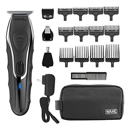 Wahl Aqua Blade Recargable Wet Dry Ion de litio Deluxe Kit de Recorte con 4 cabezales intercambiables para afeitar, detallar, arreglar barbas, bigotes, trozo, orejas, nariz, cuerpo - Modelo 9899-100