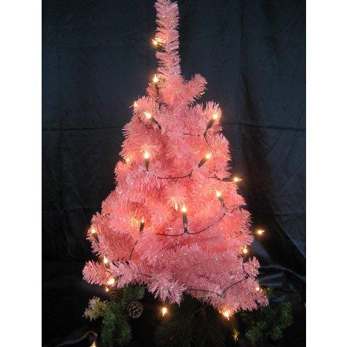 Albero di natale rosa, con 50 luci chiare