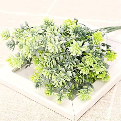 SJHQ Flor Preservada Planta Artificial polvorienta Blanca plástico Hermoso Eucalyptus árbol Ramo para la decoración del hogar de la Boda de la Navidad Follaje Femenino Flor Artificial