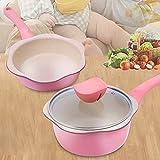 WWWL Cacerola, 2PCS Set de Utensilios de Cocina Set de Utensilios de 6 Pulgadas y sartenes Set Mini cazo Pan Pan Pozo Maifan Piedra Huevo Huevo para niños Niños Comida Fideos de Cocina (Color : Pink)