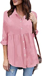 Howely Womens Chiffon Ruched Button Down Ruffled Slim Tunic Top Blouse